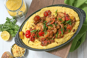 Big John's Cajun Shrimp and Grits with Blistered Tomatoes