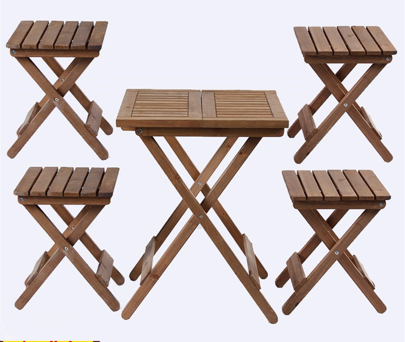 5 pieces Outdoor Wood Patio Furniture Rustic Finish -AJLhomedecor.com