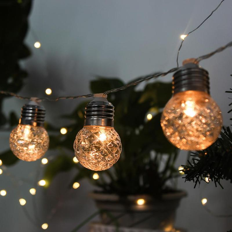 Solar 10 LED Balls Fairy String Decorative Lights Battery Operated Christmas Outdoor Patio Garland Wedding Decoration