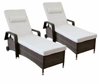 2-Piece Patio Chaise Lounge Chair