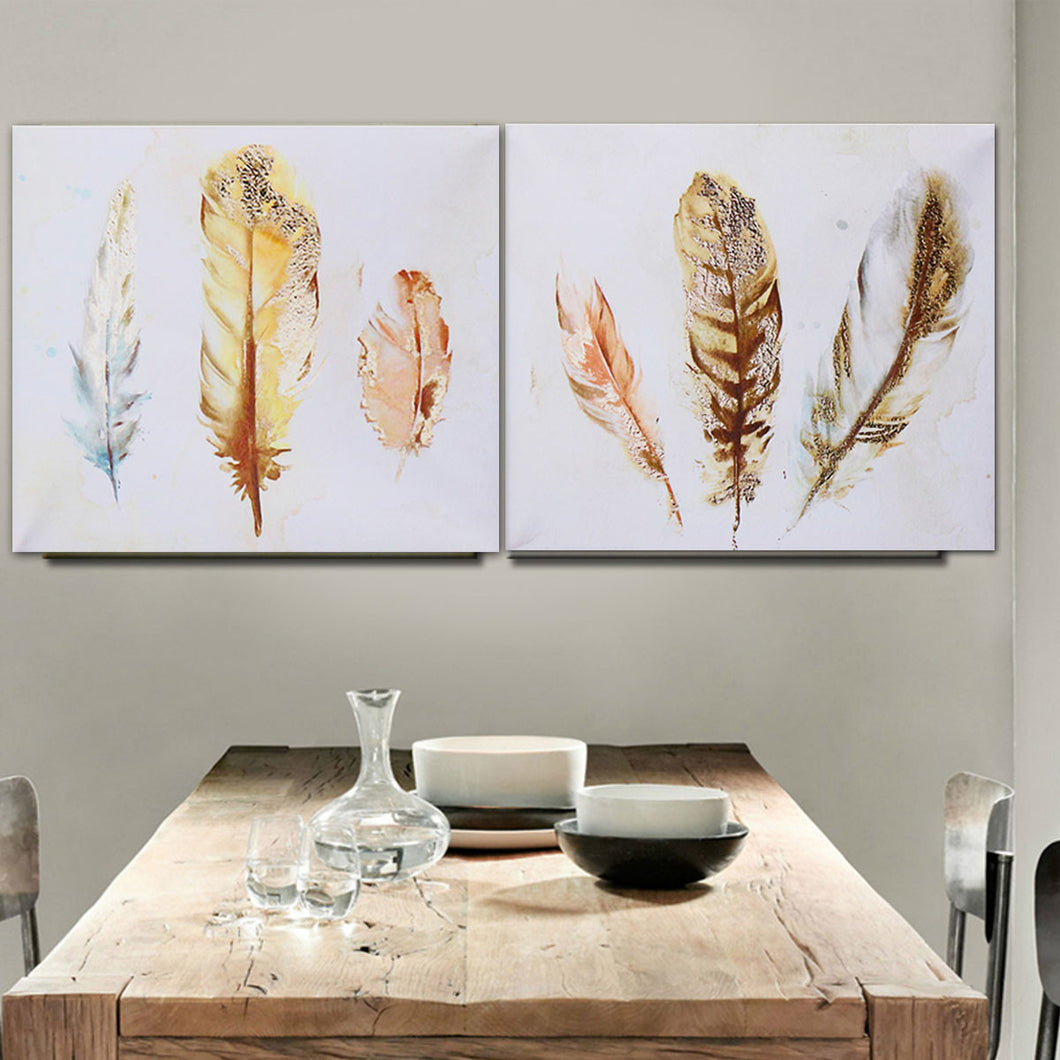 Set of 2 Unframed Feather Watercolour Canvas Pictures