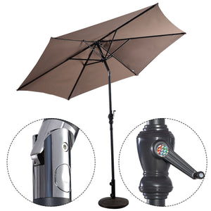 Costway 9ft Patio Umbrella Patio Market Steel Tilt w/ Crank Outdoor Yard Garden (Tan)