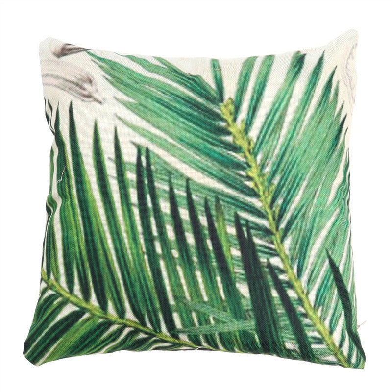 Square Throw Pillow Case Spring Cushion Cover for Sofa Couch Farmhouse Outdoor  45x45cm (Leaf)