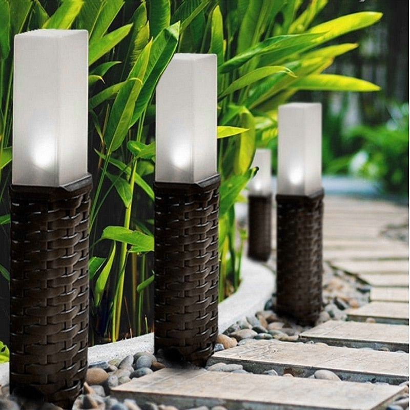 Plastic Rattan Style Solar Powered Lawn Lamp Courtyard Post Path Stake Lights Garden Patio Ground Lights