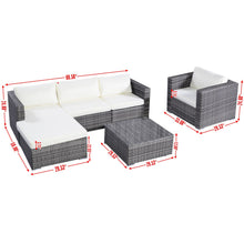 Load image into Gallery viewer, 6 pcs Rattan Cushioned Sofa with Ottoman-AJLhomedecor.com