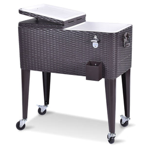 80QT Outdoor Party Portable Rattan Rolling Cooler Cart-AJLhomedecor.com