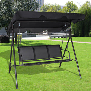 Costway Outdoor Patio Swing Canopy 3 Person Canopy Swing Chair Patio Hammock Black