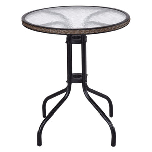 "24"" Glass Top Round Patio Table"