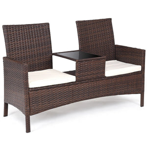 Patio Rattan Cushioned Table Chairs Chat Set