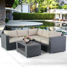 Load image into Gallery viewer, 4 pcs Patio Rattan Wicker Cushioned Sofa Set