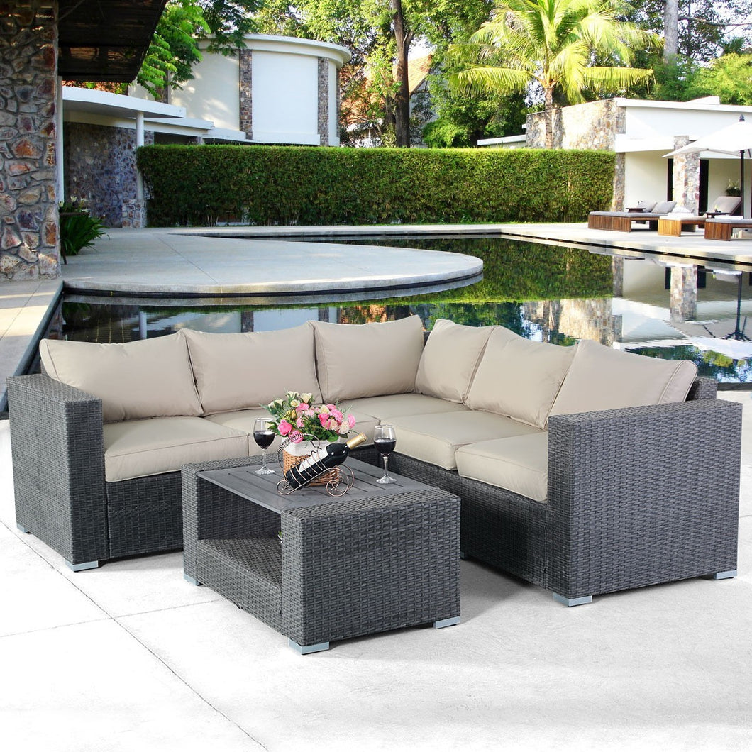 4 pcs Patio Rattan Wicker Cushioned Sofa Set