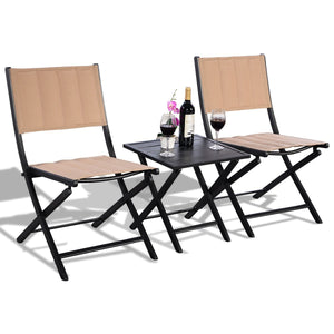Awesome 3 Pcs Folding Bistro Outdoor Table Chairs Bralicious Painted Fabric Chair Ideas Braliciousco