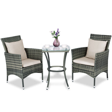3 pcs Patio Rattan Chairs and Table Set with Cushions