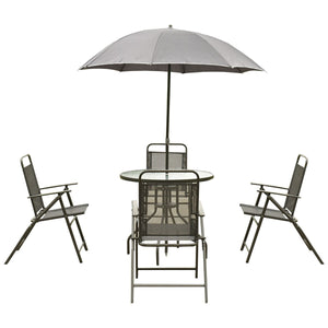 6 pcs Outdoor Patio Folding Round Table and Chair-AJLhomedecor.com