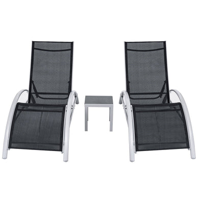 3 Pieces Outdoor Patio Pool Lounger Set