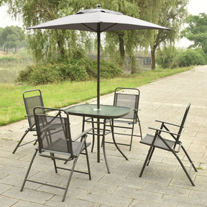 6 pcs Patio Folding Furniture Set with an Umbrella-AJLhomedecor.com