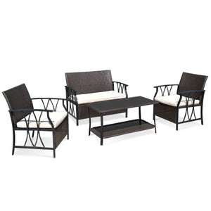 4 pcs Outdoor Wicker Furniture Set