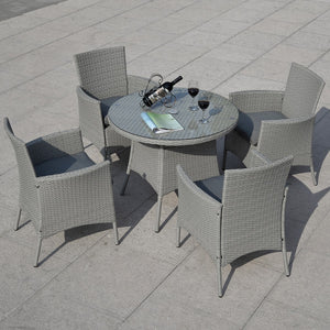 5 pcs Patio Rattan Dining Table and 4 Chairs Set