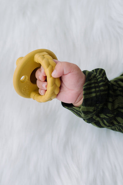 Gray and Mustard Sweetie Soother Pacifier