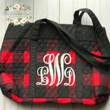 Buffalo Plaid Monogram Tote