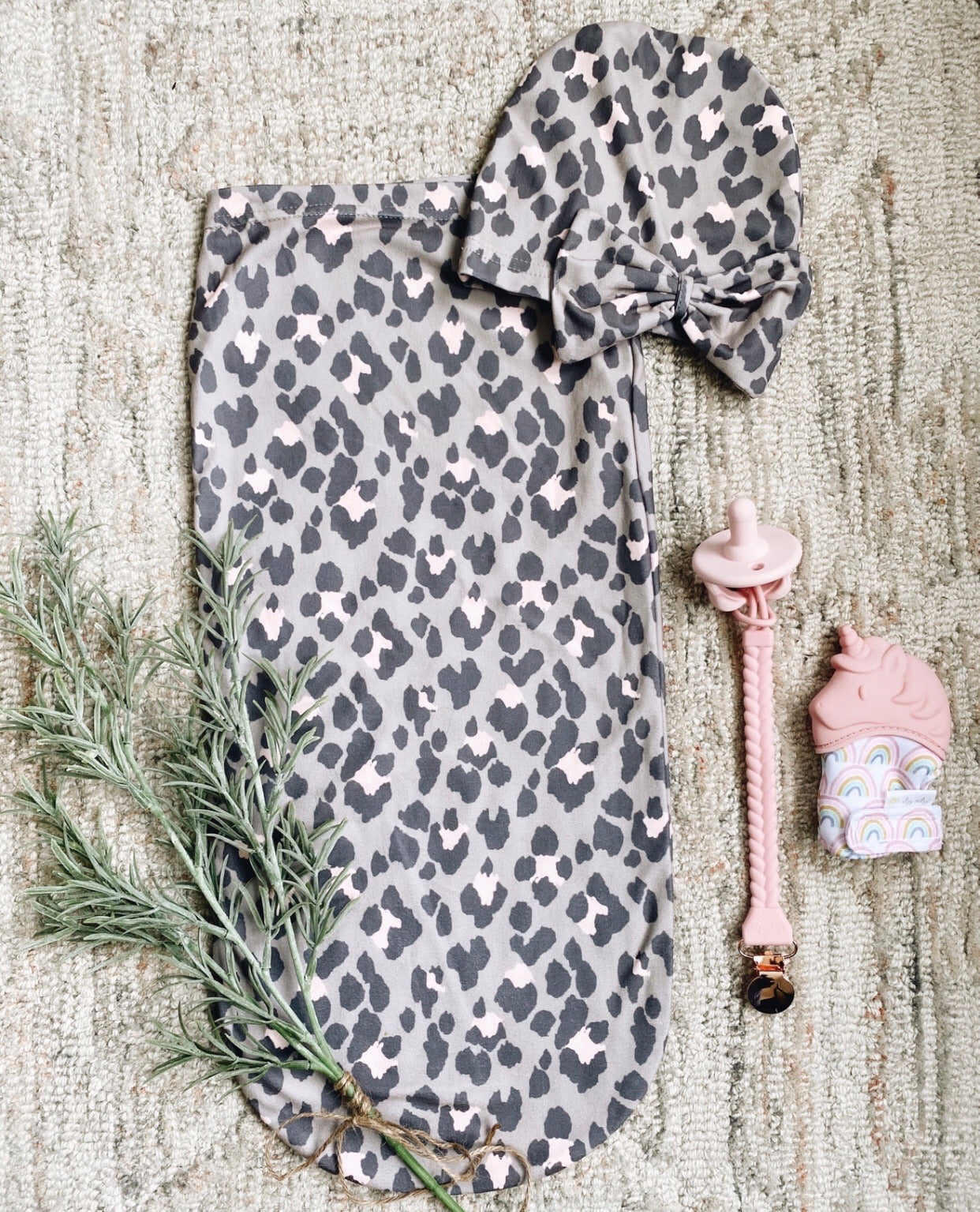 Blush Leopard Cutie Cocoon + Hat Set