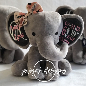 Personalized Birth Date Elephant Plush Stuffed Animal