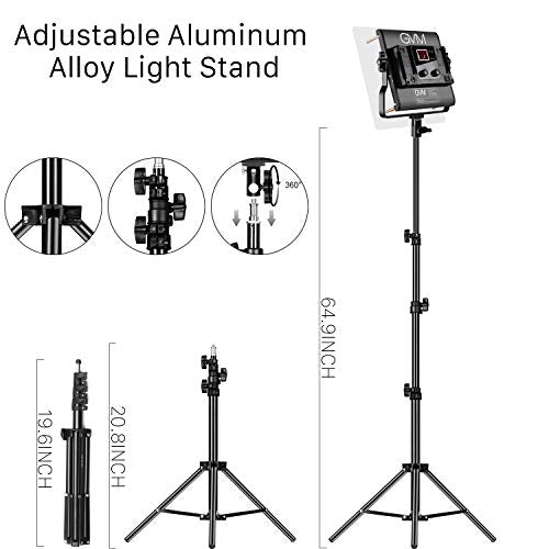 GVM Led Video Lighting Kit, 3pack with Digital Screen 2300K~6800K high Brightness with Stand Dimmable Bi-Color Video Lighting CRI97+ TLCI97 Led Light Panel for YouTube Studio Photography Video Shooting