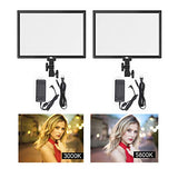 Pixel 2 Packs 45W Camera Video Lights, 3000-5800K Dimmable Brightness LED Light Panel Photography Lighting Lights - CRI >96 /TLCI >97 Professional Camera Light with AC Adapter for Studio Lighting