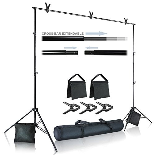 Big Bang Fearless Studio Photo Video Studio 10 ft. Wide Cross Bar 7.4 ft. Tall Background Stand Backdrop Support System Kit with Carry Bag