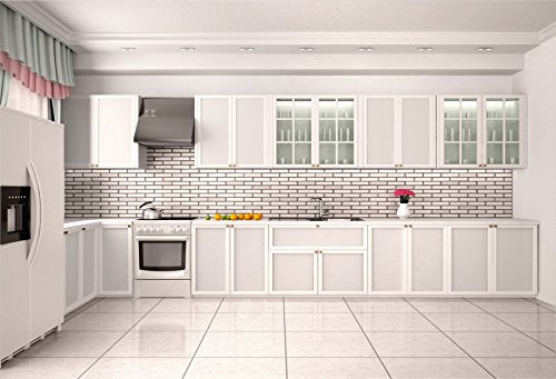 Fearless Background Modern Kitchen Backdrop Cook Cooker Closet Teapot Fire Place Frigerator Disinfection Cabinet
