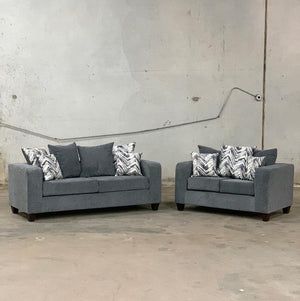 110 - Charcoal Sofa and Loveseat Set HAPPY
