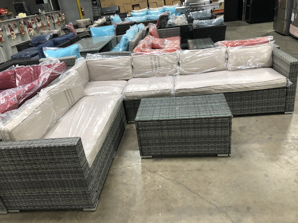 keywest sectional 5 pieces set with beige cushions