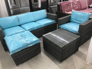 Liva Springs New Keywest All-Wicker Outdoor Seating Set with Blue Cushions in