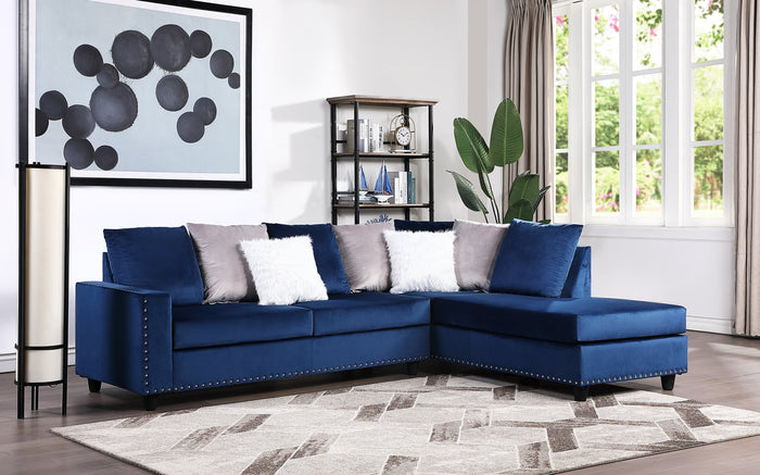 Cindy Reversible Sectional - Blue