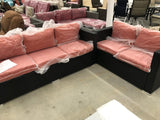 Outdoor Patio Sofa and Loveseat with Orange Cushions and extra pillow