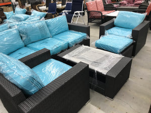 LIVA SPRINGS KEMPWOOD ALL-WICKER 7-PIECE OUTDOOR CHAT SET WITH CUSHIONS IN LIGHT BLUE