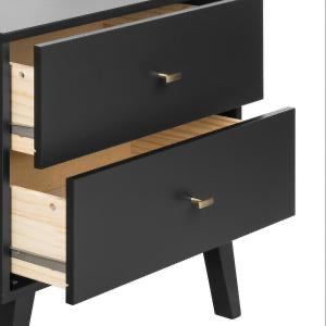 Milo Mid Century Modern 2-Drawer Black Tall Nightstand with Open Shelf