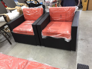 Liva spring patio set with orange cushions ESKI