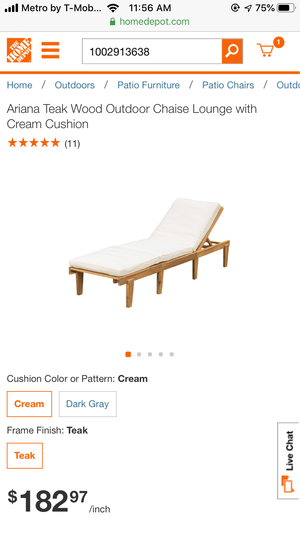 Ariana Teak Wood Outdoor Chaise Lounge with Cream Cushion