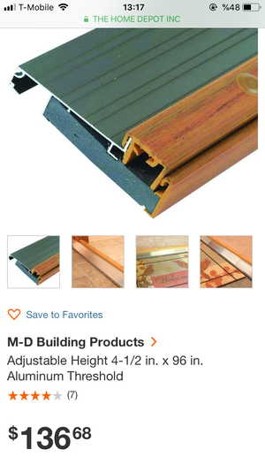M-D Building Products Adjustable Height 4-1/2 in. x 63 in. Aluminum Threshold