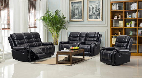 Paulo - Black 3PC Reclining Set