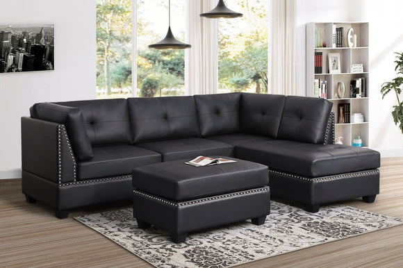 Sienna Sectional + Ottoman Set (Black-Vinyl)