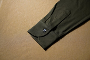 Olive Green Polo Shirt w/ Button Down Collar