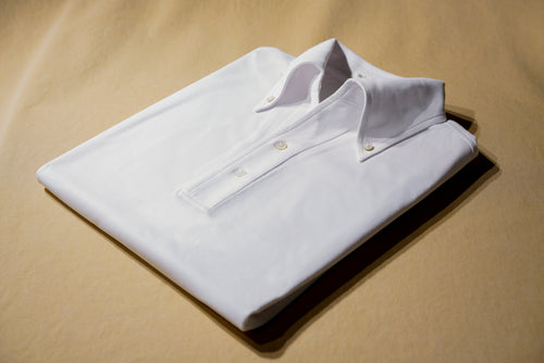 Ivory White Polo Shirt w/ Button Down Collar