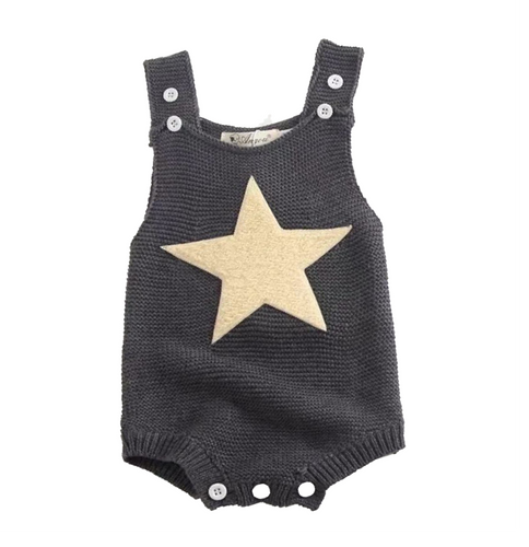 Knitted Twinkle Star decor Suspender Bodysuit
