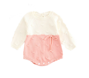 Pink White Long Sleeve Knitted Bodysuit