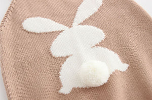 Knitted Bunny decor Suspender Bodysuit