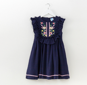 Olivia Navy Embroidery Dress
