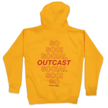Load image into Gallery viewer, Social Outcast Hoodie in Yellow and Red