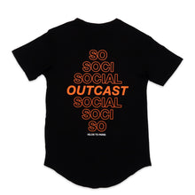 Load image into Gallery viewer, Social Outcast Scoop Tee in Black and Orange